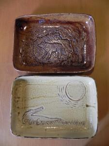 貫入土+飴釉、黄瀬戸釉